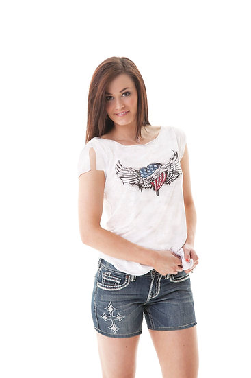 White tee with freedom heart (000435)