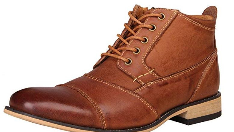 Kunsto Men's Genuine Leather Oxfords Dress Ankle Boots with Zipper