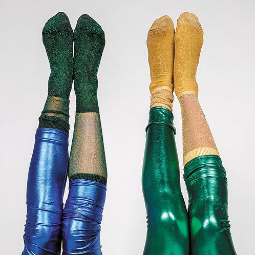 Chaussettes vertes à paillettes
