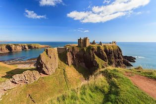 Dunnottar Castle with blue sky in - Ston