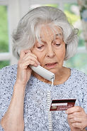 Senior Woman Giving Credit Card Details