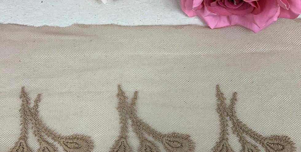 Renda Tule de algodão na cor bege escuro - 12cm x 1m