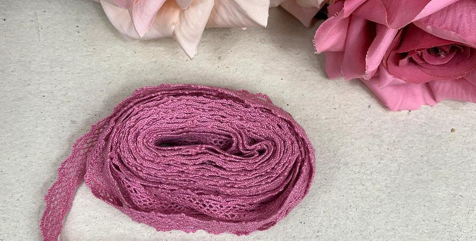 Renda de Algodão Rosê - 1 cm x 5 m