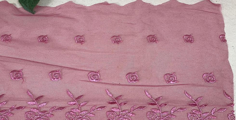 Renda de Tule Rose   - 22cm x 1m