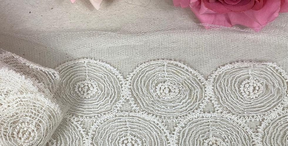 Renda Tule de algodão na cor bege - 10cm x 1m