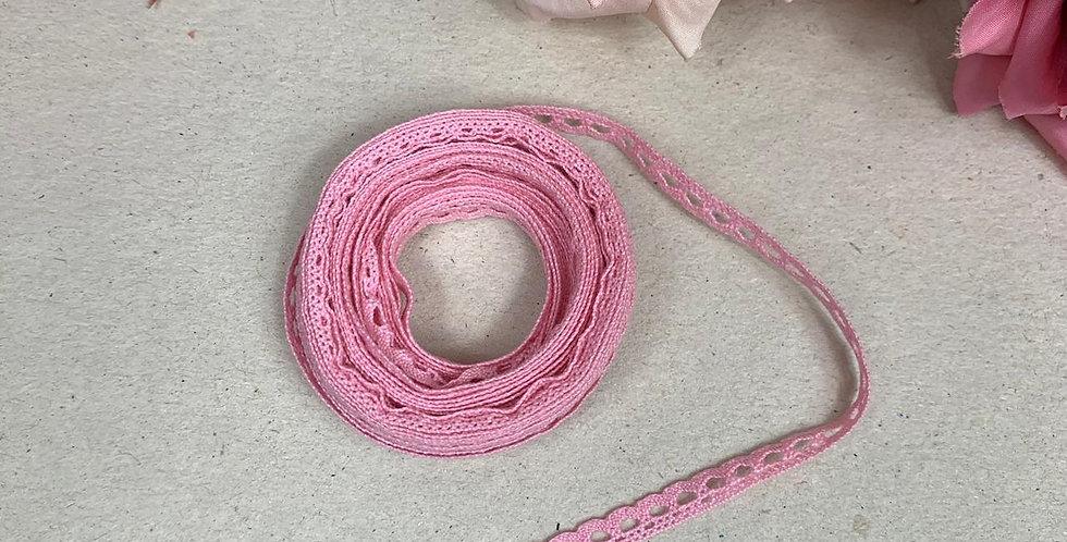 Renda de Algodão Rosa - 0,5 cm x 5 m