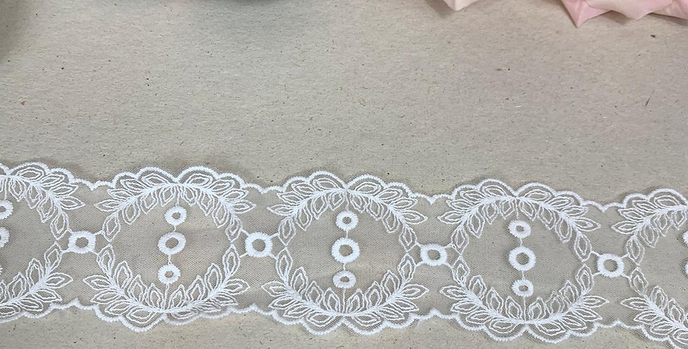 Renda off white de entremeio  - 5cm x 1m