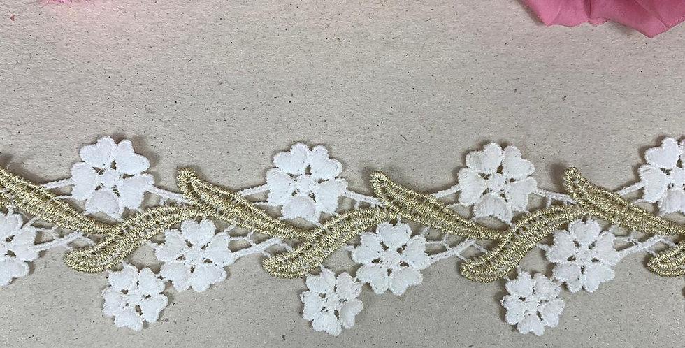 Renda off white com dourado - 6 cm x 3 m
