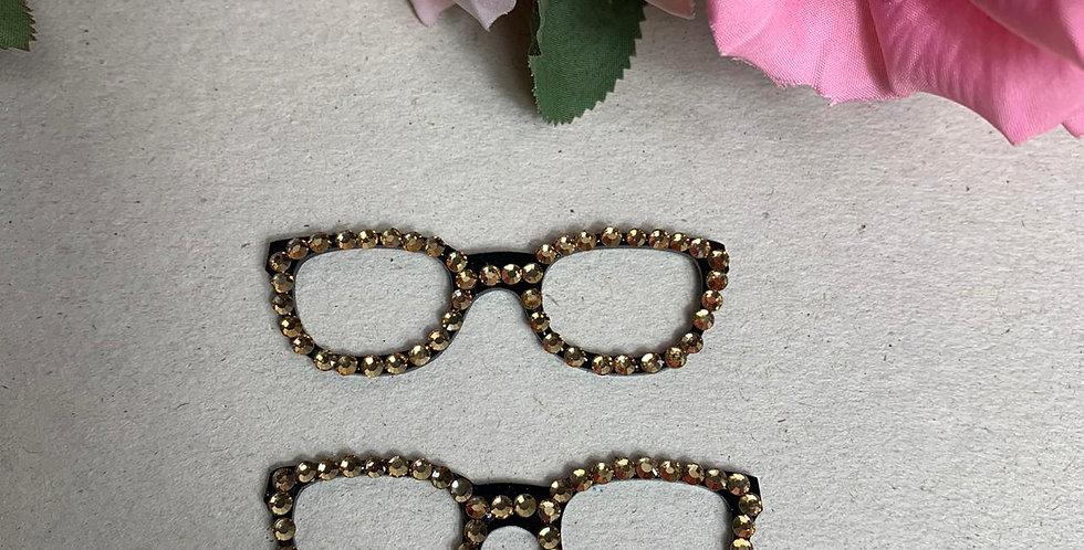 Óculos para Boneca em Acrílico com Strass Dourado (2 unidades) - 7x2 cm