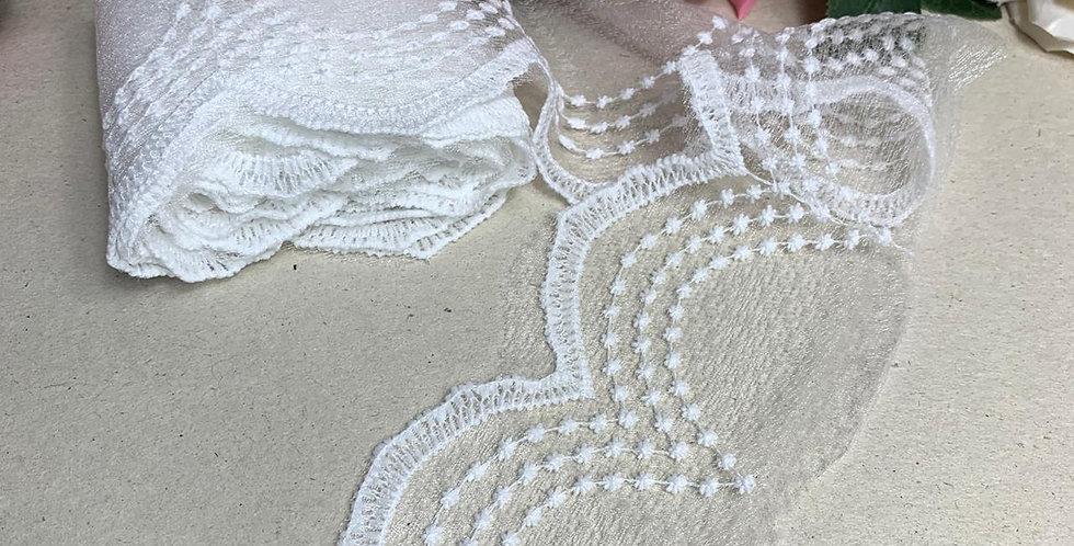 Renda Tule Branca - 8 cm x 3 m