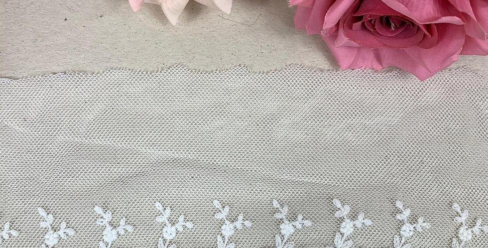 Renda Tule de algodão na cor branco - 10cm x 1m
