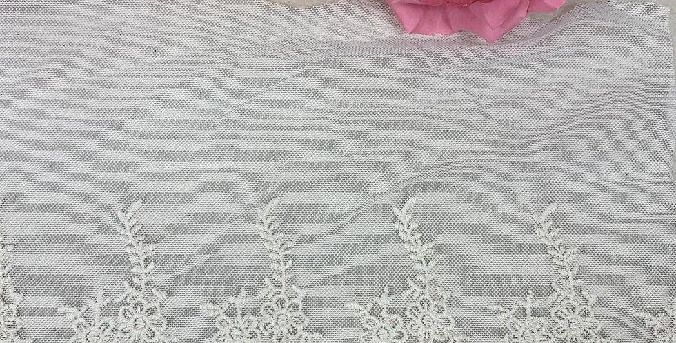 Renda Tule de algodão na cor bege - 16cm x 1m