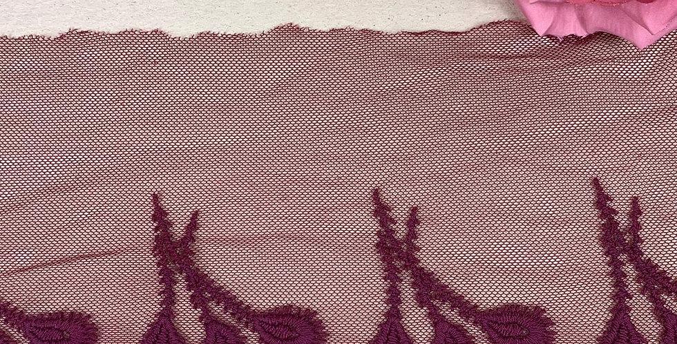 Renda Tule de algodão na cor vinho - 12cm x 1m