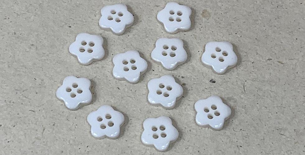 Botões de flor branco - 12 unidades