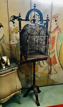 Vintage Wood Birdcage on revolving stand
