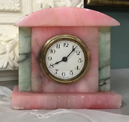 Pink & Green Alabaster Clock
