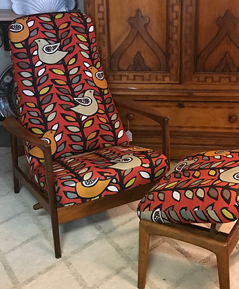 Mid Century Reclining Chair & Ottoman