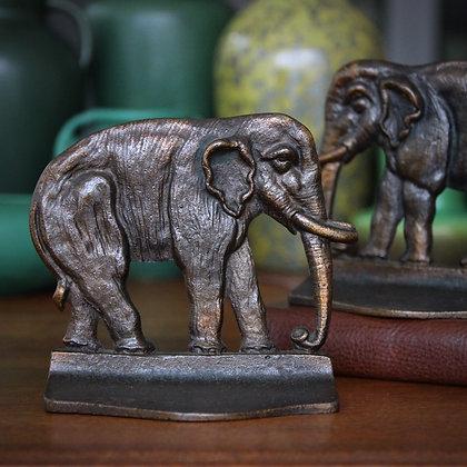 Bronze Asian Elephant Bookends