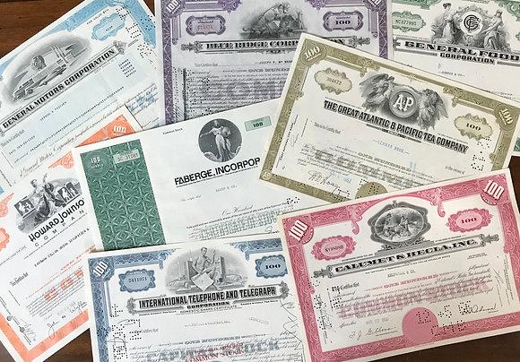 Twenty Vintage Stock Certificates