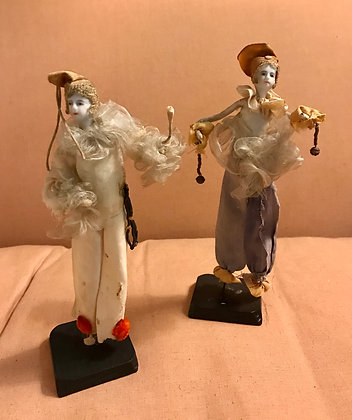 Pair Early 1920 Deco French Bisque & Wire Figures