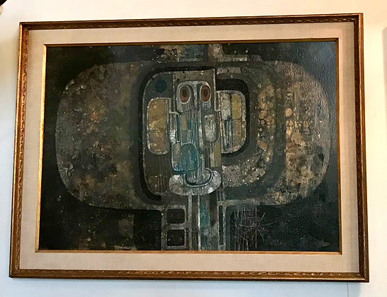 """1963 Oil Painting """"Axial Structure #2"""" by Jack Wolsky"""