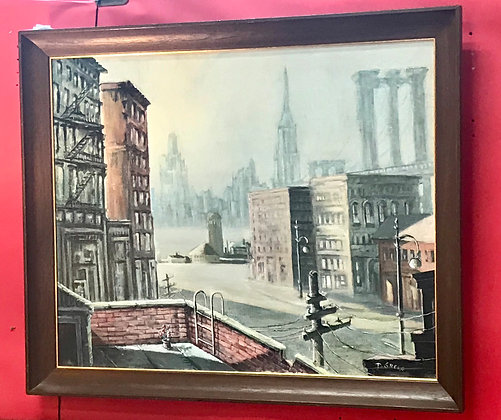 New York City Acrylic Painting by F. Gregg, 1970's