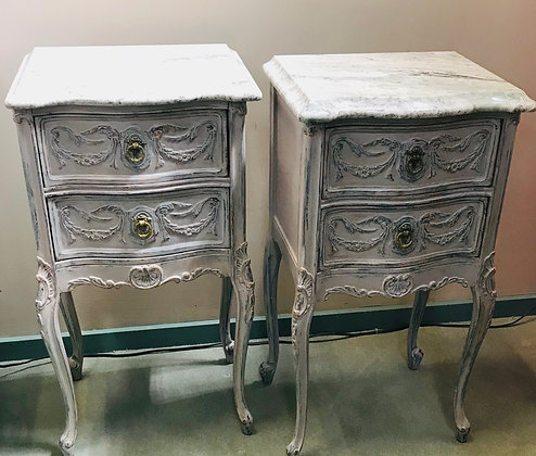 Pair French Marble Top Side Tables