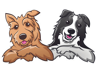 Two Dog Logo Poop Scooping Paws 'N' Lawns Logo Pet Waste Management Service Removal Yard Clean Up