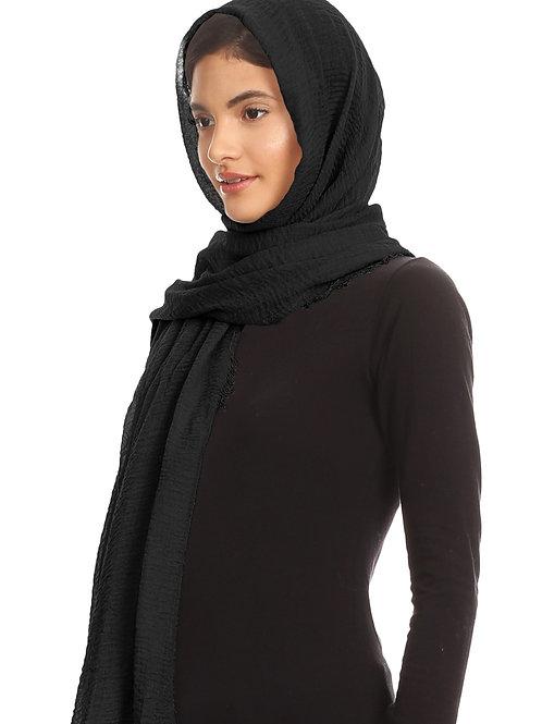 Black Cotton Crinkle Hijab Scarf