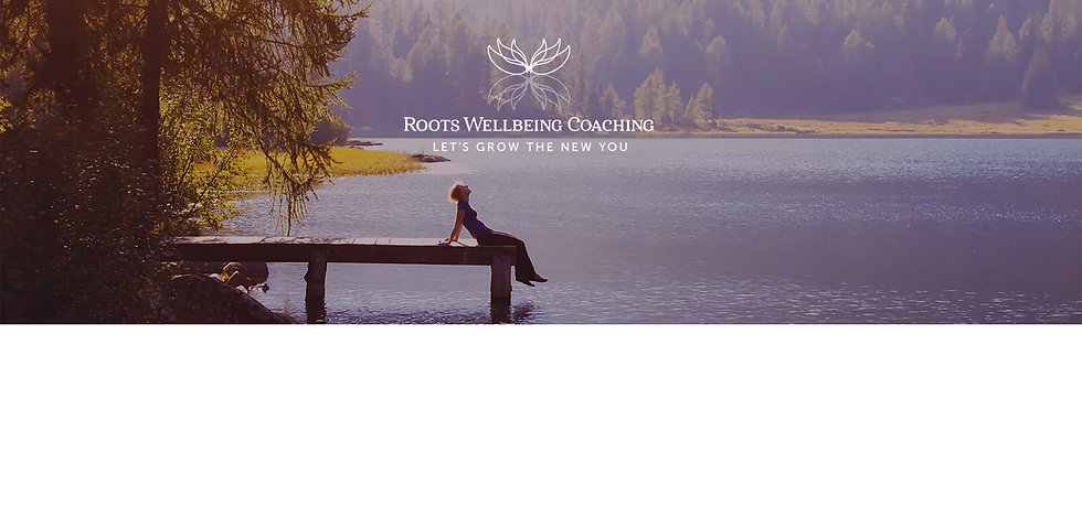 Roots wellbeing coaching logo peaceful lake