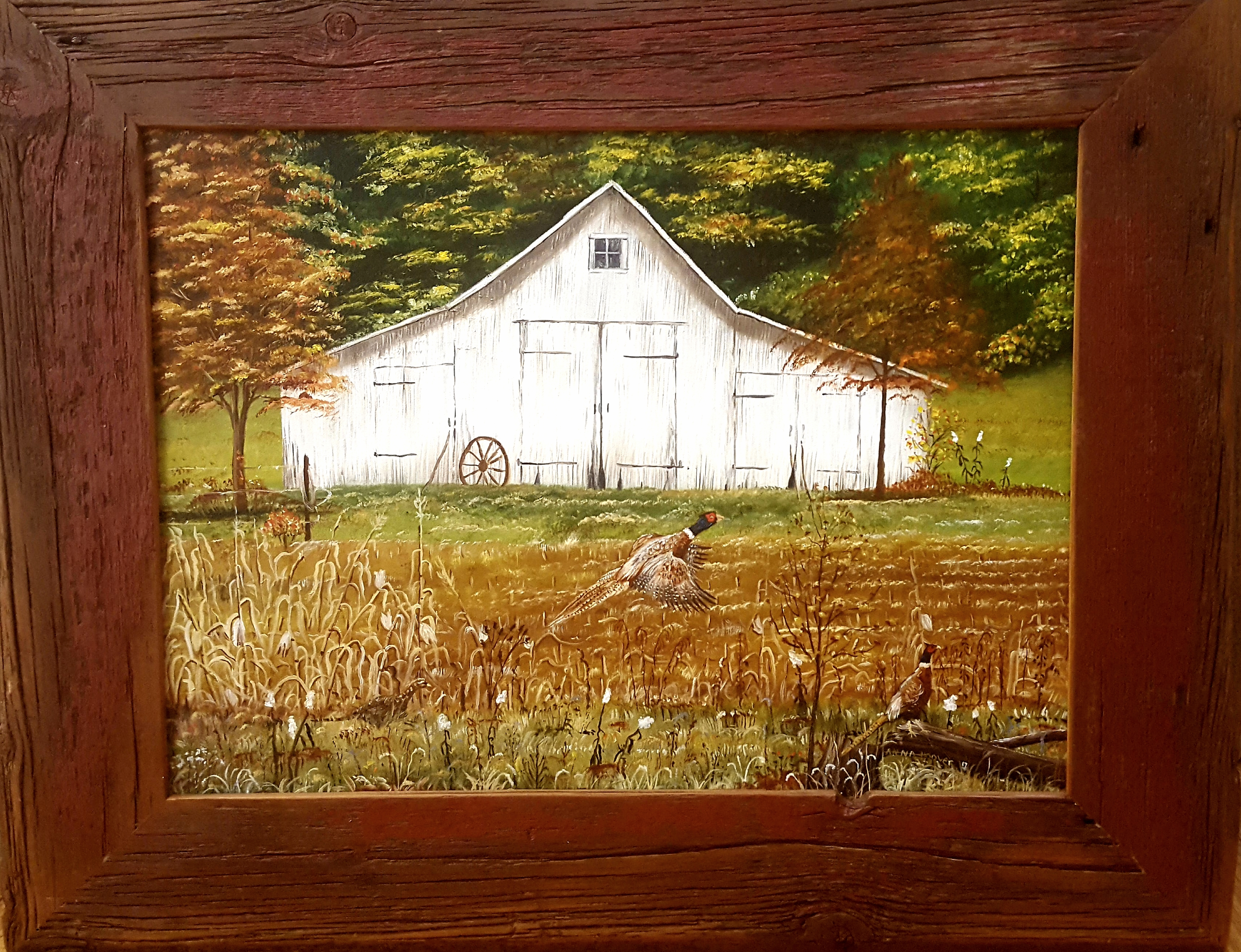 Barn and Pheasants
