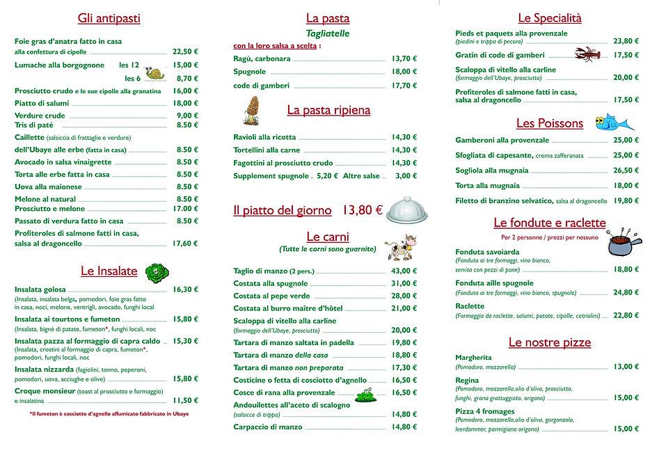 Menu Restaurant En Anglais