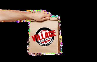 Village Hand Holding Brown Paper Bag cop