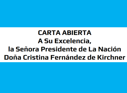 CARTA ABIERTA a Cristina de Kirchner
