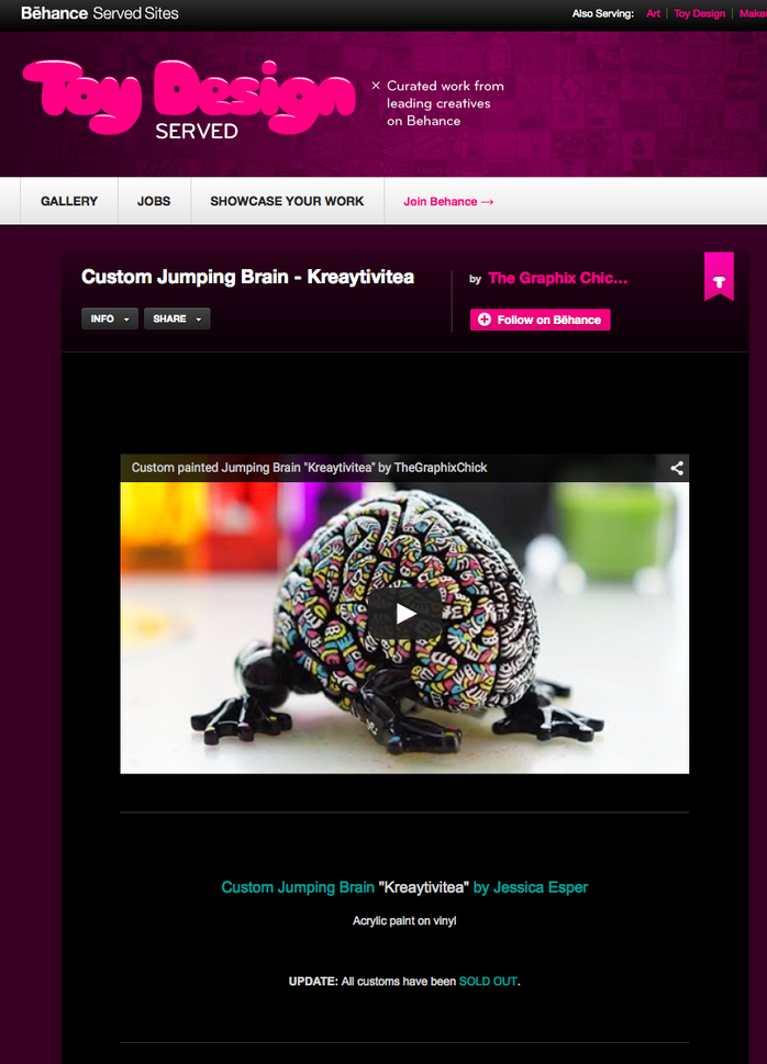 "Custom Jumping Brain ""Kreaytiviea"" Featured on the front page of ToyDesignServed!"