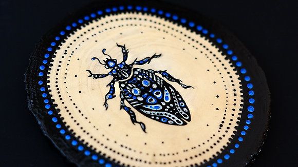 Hand Painted Insect on Wood Slice - Bug 6