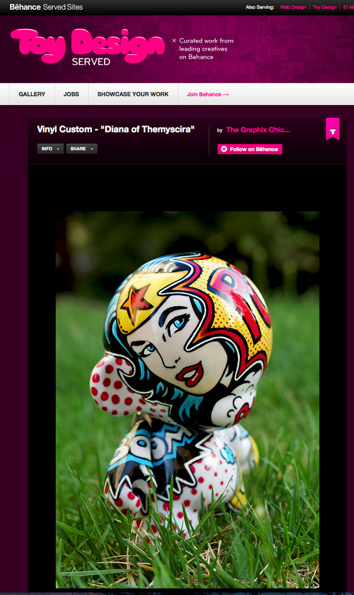 "Custom Munny ""Diana of Themyscira"" Featured on the front page of ToyDesignServed!"