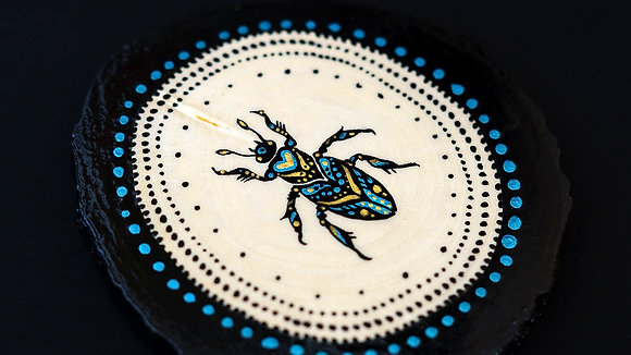 Hand Painted Insect on Wood Slice - Bug 5