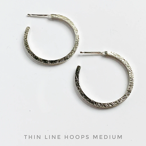medium thin line hoops silver