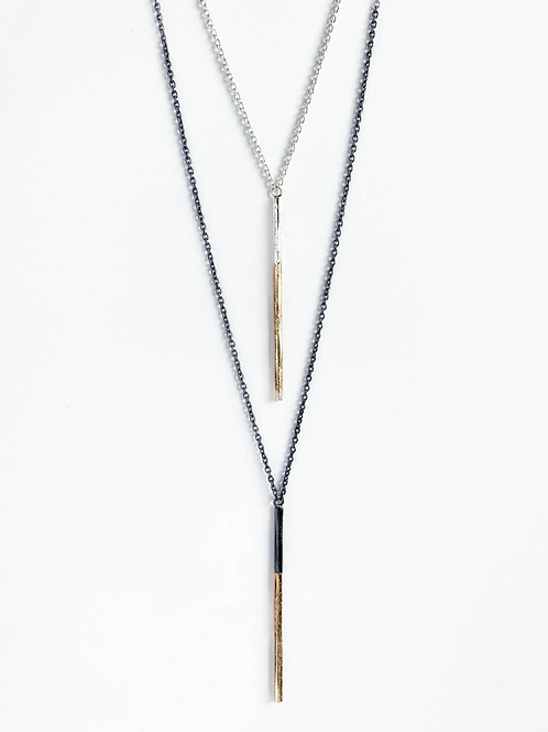 lindsay necklace gold and oxidized silver
