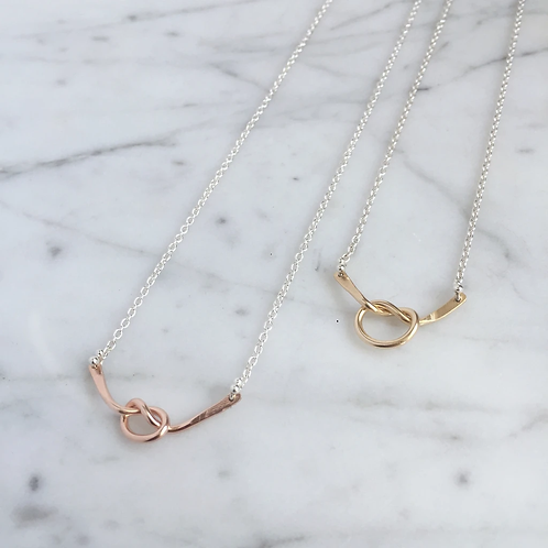 love knot necklace yellow gold