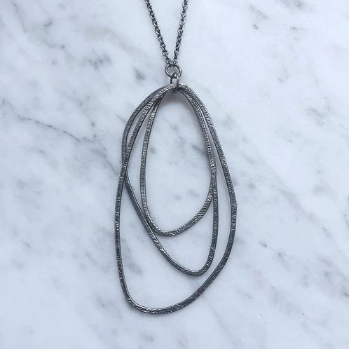 trio necklace oxidized silver