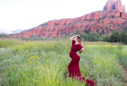 red dress pregnant