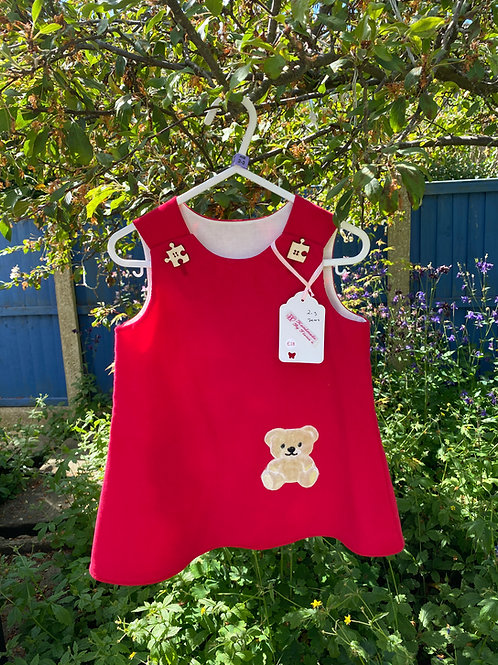Handmade red baby needlecord dress with teddy 2-3 years
