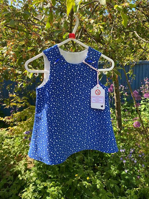 Handmade blue star baby needlecord dress 0-6 months