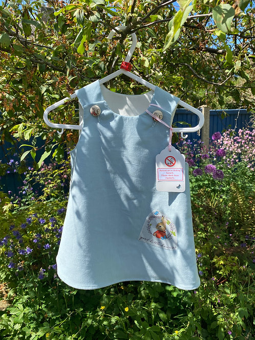 Handmadepale blue baby needlecord dress with rabbit 0-6 months