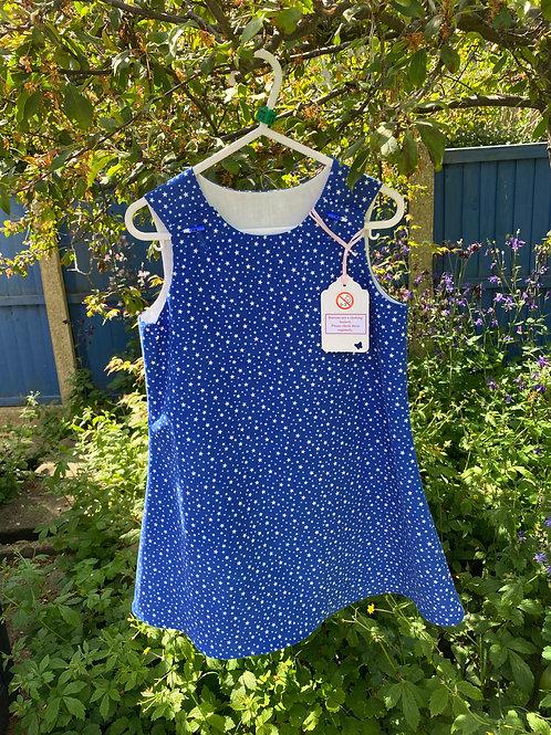 Handmade blue star baby needlecord dress age 4-5