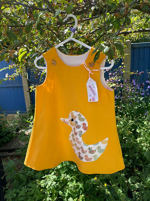 Handmade baby needlecord dress with duck2-3 years