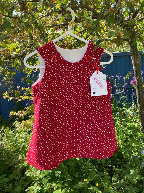 Handmade baby needlecord red star dress 6-12 months