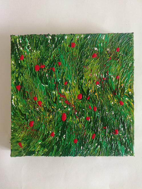 Mohnblumenwiese - 20 x 20 cm | Unikat